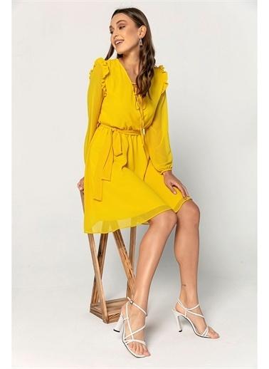 Tiffany&Tomato Omuzları Fırfırlı Şifon Elbise Sarı